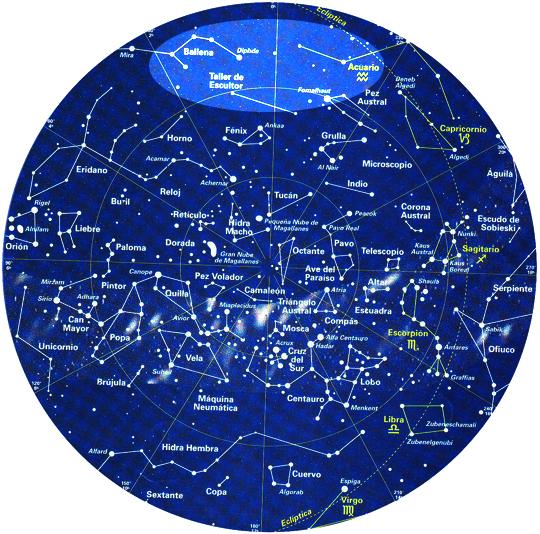 Anche nella mappa del cielo australe che vedo c'è una scrittura delle stelle. L'universo ha direzioni, percorsi e previsioni per noi. Vorrei capire questa elisse.